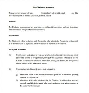 non disclosure agreement sample non disclosure agreement form
