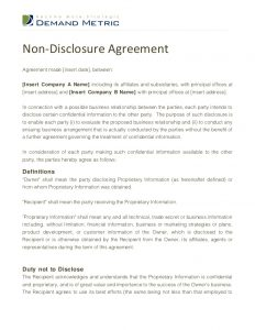 non disclosure agreement sample non disclosure agreement template