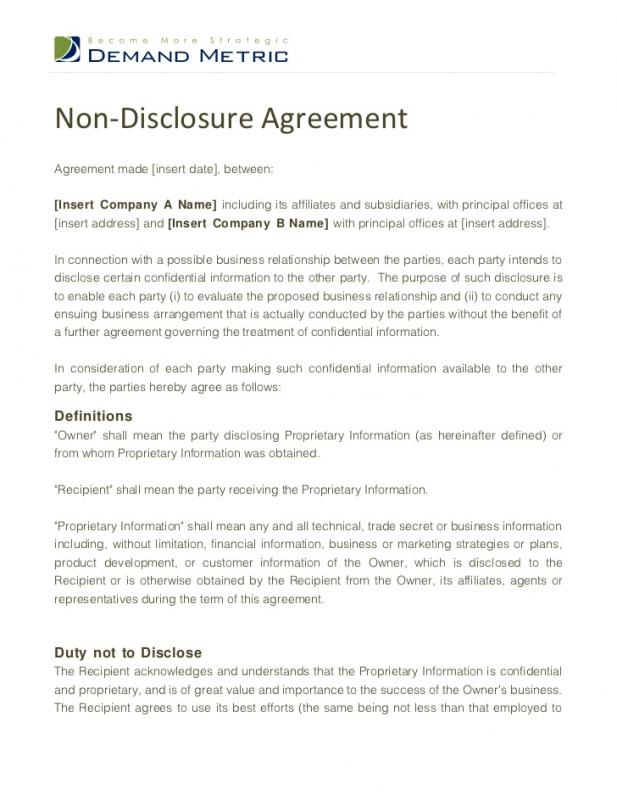 High Quality Non Disclosure Agreement Sample Inside Disclosure Agreement Sample