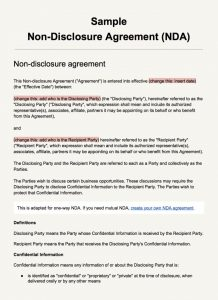 non disclosure agreement sample screenshot sample non disclosure agreement template
