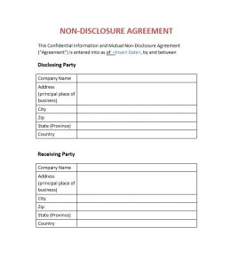 non disclosure form non disclosure agreement template