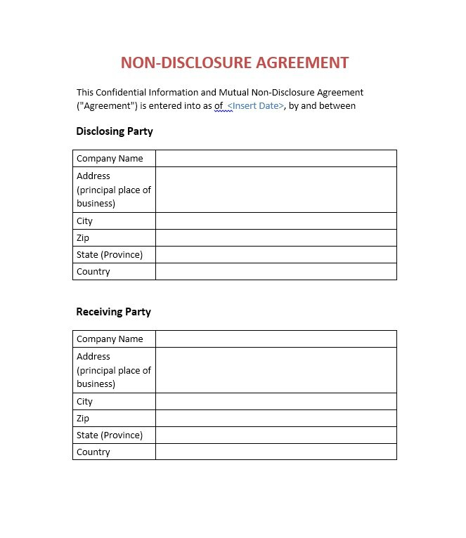 Non disclosure form template business for Generic nda template