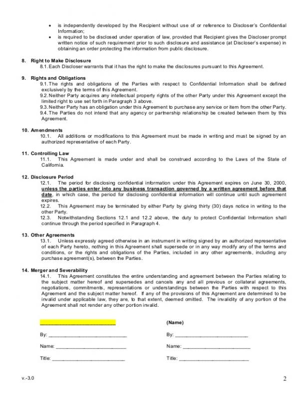 Non Disclosure Form  Template Business