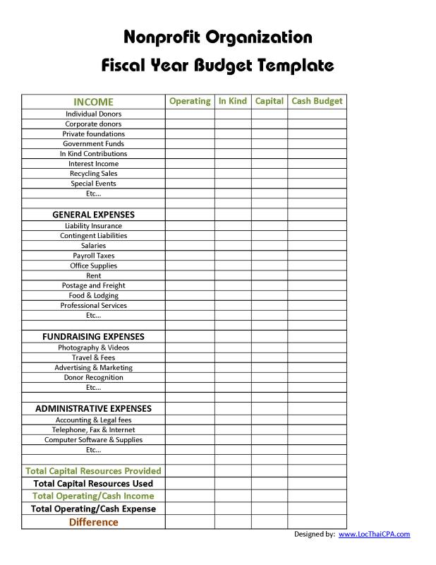 Non Profit Budget Template  Template Business