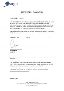 notarized document sample certified translation