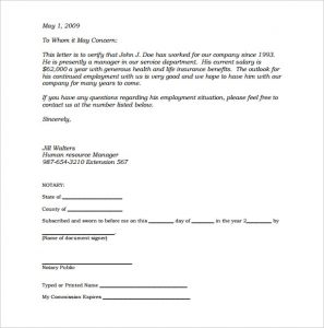notarized letter format sample notarized letter of employment template pdf printable