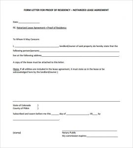 notarized letter of residency blank notarized letter for proof of residency template pdf format
