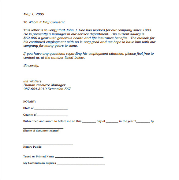 notarized letter sample