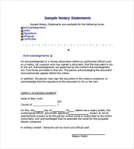 notary document sample example of notarized letter