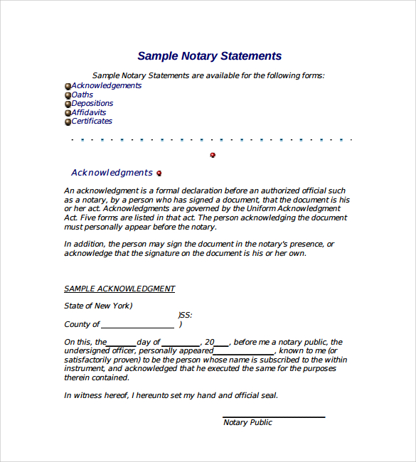 notary document sample