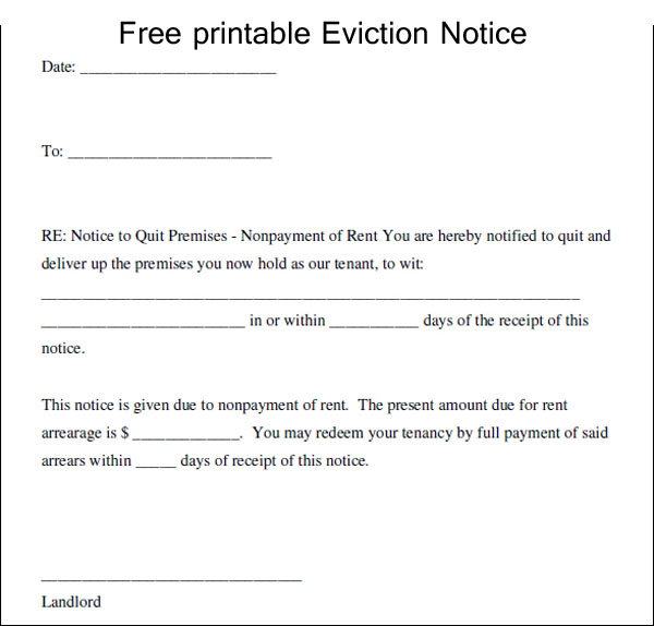 Notice Of Eviction Form  Template Business