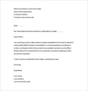 notice of termination notice of termination letter template