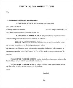 notice of termination of employment day notice to quit