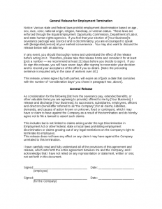 notice of termination of employment sample employee termination contract waiving rights to sue
