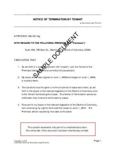 notice of termination tentterm sample pdf