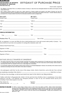 notice of transfer and release of liability form kansas affidavit of purchase price form