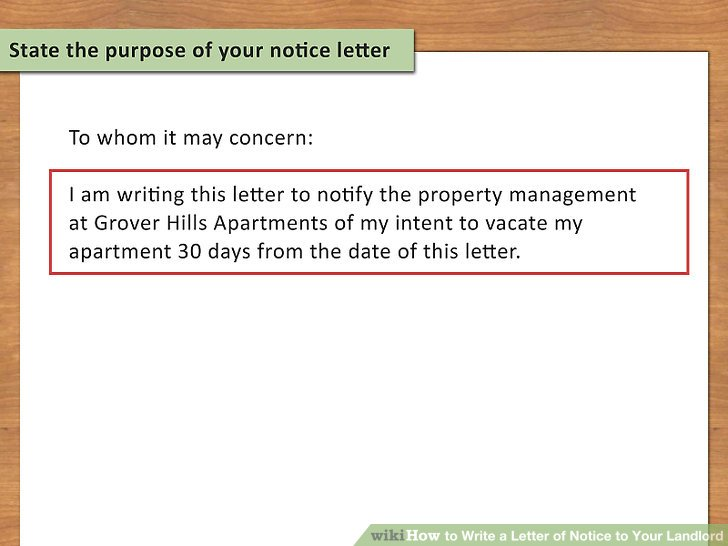 letter of notice to vacate apartment
