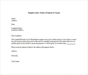 notice to vacate apartment intent to vacate letter pdf