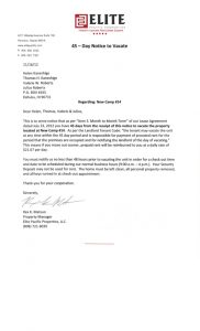 notice to vacate letter from landlord to tenant eviction notices