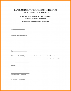 notice to vacate letter from landlord to tenant move out notice template