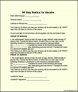 notice to vacate letter from landlord to tenant printable day notice to vacate