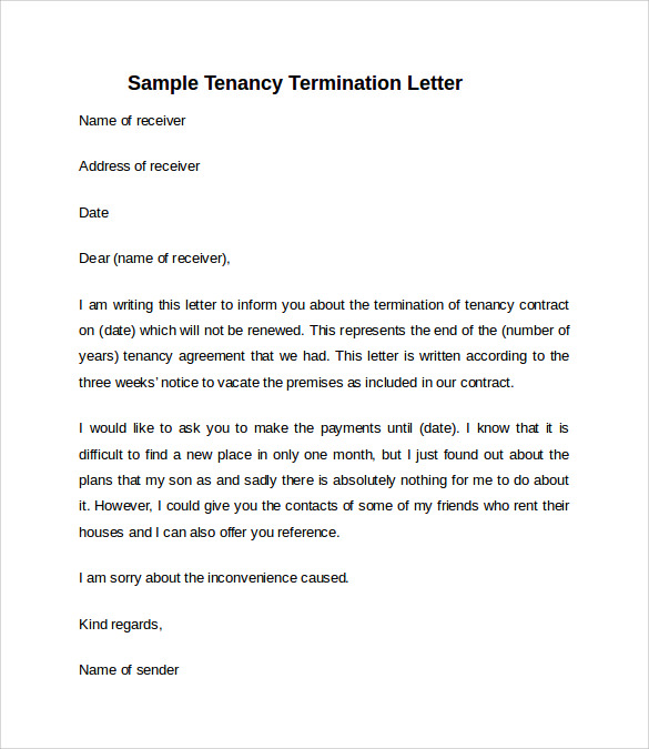 notice to vacate letter from landlord to tenant