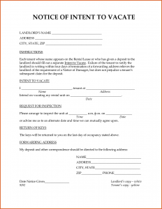 notice to vacate letter notice of intent to vacate cover letter bests of request to vacate landlord intent property