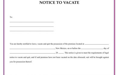 notice to vacate letter vacate notice