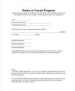 notice to vacate notice to vacate property form