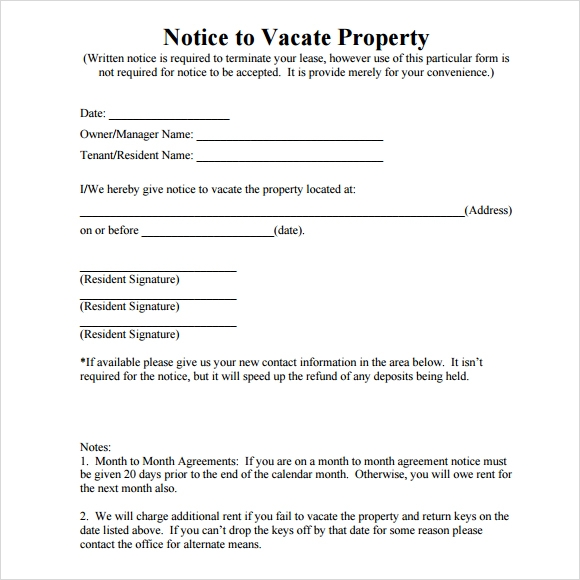 Notice To Vacate Template  Template Business