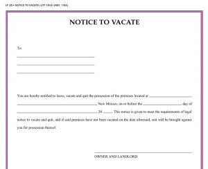notice to vacate vacate notice 899