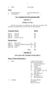 novel outline example course outline for ma english punjab university