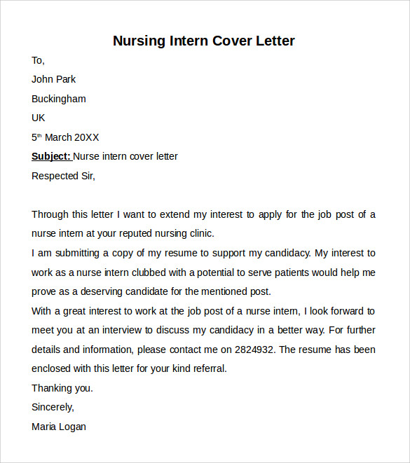 nursing cover letters sample