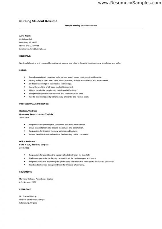 Nursing Student Resume Examples Template Business
