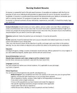 nursing student resume nursing student resume format