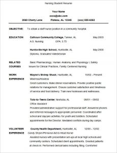 nursing student resume nursing student resume template sample