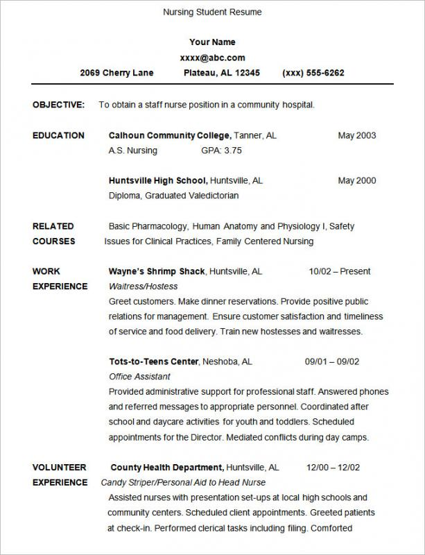 Nursing Student Resume | Template Business