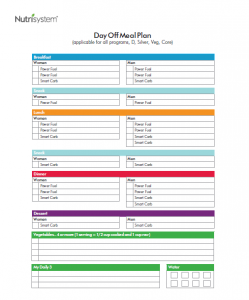nutrisystem meal planner day off plan