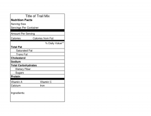 nutrition label templates nutrition facts label template