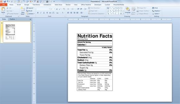nutrition label templates