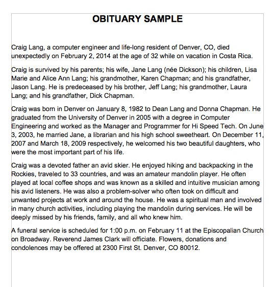 obituary template father