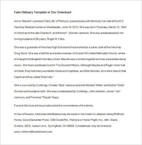obituary template mother obituary template in doc download
