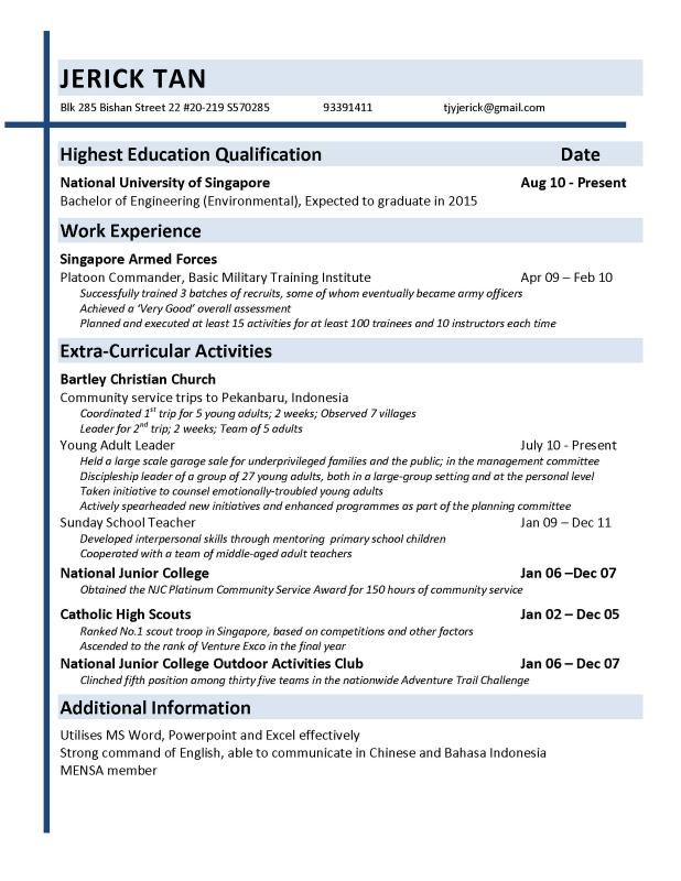objective in resume for fresh graduate