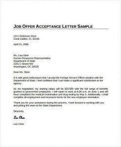 offer acceptance letter job offer acceptance letter from employer