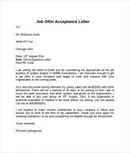 offer acceptance letter offer acceptance letter example