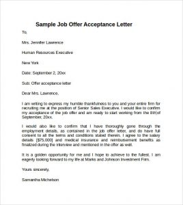 offer acceptance letter sample job offer acceptance letter
