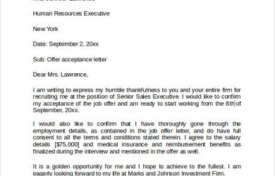 offer acceptance letter sample job offer acceptance letter