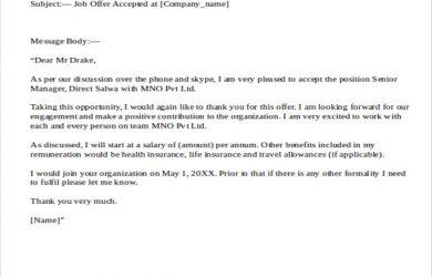 offer letter email offer letter acceptance email to hr