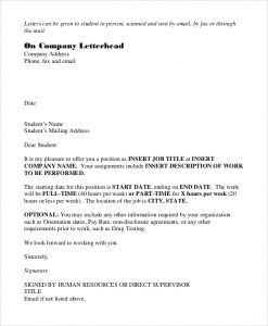 offer letter email sample job offer letter email