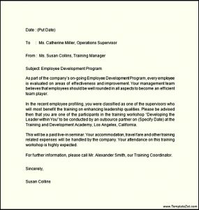 offer letter example job offer letter for training